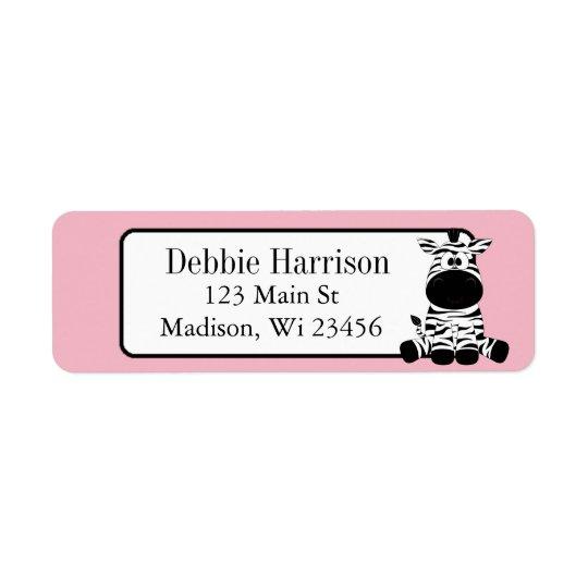 Pink Custom Zebra Stripes Return Address Labels