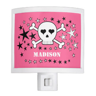 Pink Customizable Cute Crossbone Skull and Stars Nite Lights