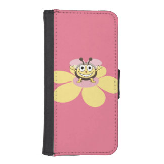 Pink Cute And Happy Cartoon Bee iPhone SE/5/5s Wallet Case