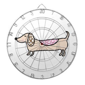 Pink cute dachshunds dartboard