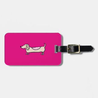 Pink cute dachshunds luggage tag