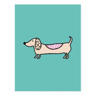 Pink cute dachshunds postcard
