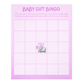 Pink Cute Elephant Baby Girl Shower Bingo Game Flyer