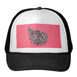 Pink cute girly floral polka dot pattern trucker hats