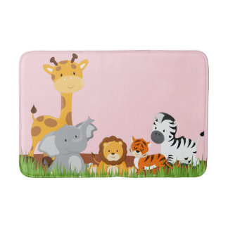 Pink Cute Jungle Baby Animals Bath Mat