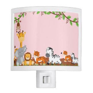 Pink Cute Jungle Baby Animals Night Light