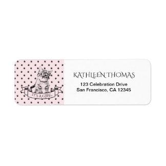 Pink Cute Kitten Baby Shower Return Address Label