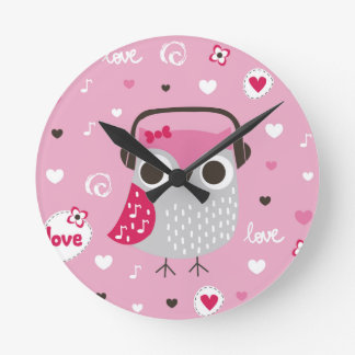 Pink,cute,owl,funny,girly,pattern,trendy,template, Clock