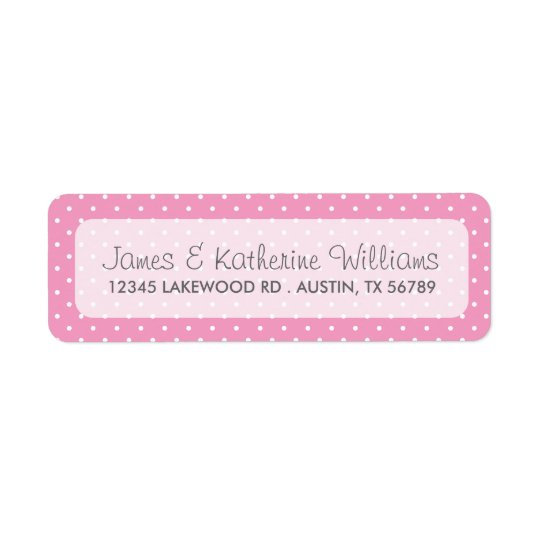 Pink Cute Polka Dots Modern Wedding Return Address Label