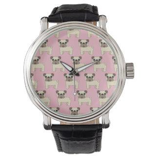 Pink Cute Pug Watch