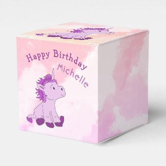Pink Cute Unicorn Happy Birthday Name Favor Box