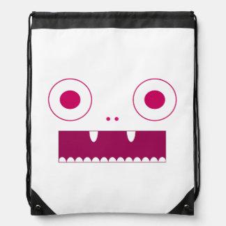 Pink cutsie monsters drawstring bag