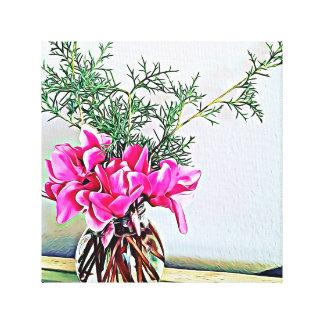 Pink Cyclamen, floral bouquet, botany canvas print
