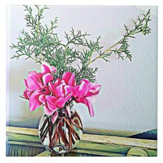 Pink Cyclamen, floral bouquet, botany ceramic tile