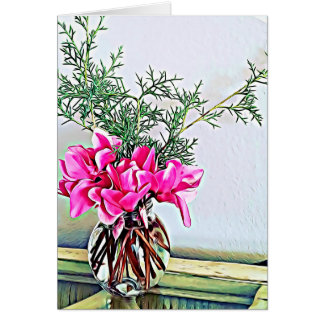 Pink Cyclamen, floral bouquet botany greeting card