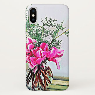 Pink Cyclamen, floral bouquet, botany phone case
