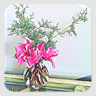 Pink Cyclamen, floral bouquet, botany stickers