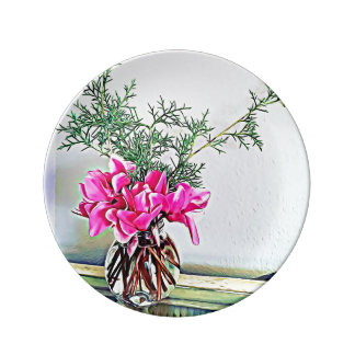 Pink Cyclamen, floral bouquet - decorative plate