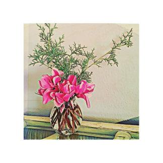 Pink Cyclamen, floral bouquet - wood wall art