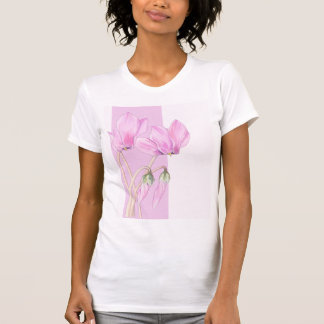 Pink Cyclamens pink Ladies T-Shirt