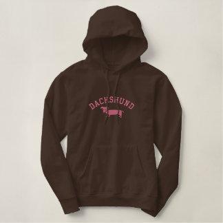 Pink Dachshund Embroidered Hoodie
