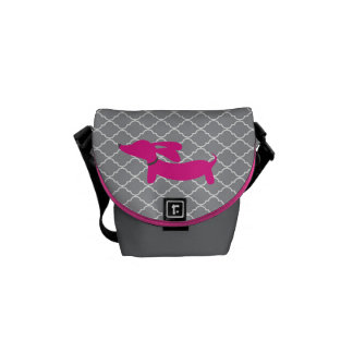 Pink Dachshund on Lattice Background Courier Bag