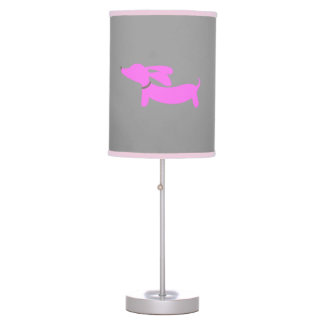 Pink Dachshund with Flying Ears on Gray Table Lamp