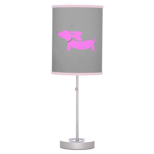 Pink Dachshund with Flying Ears on Grey Table Lamp