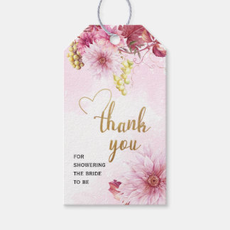Pink Dahlia Bridal Shower Thank You Gift Tag