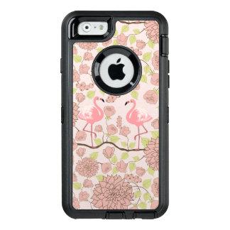Pink dahlia, flamingo pattern Otterbox iphone case