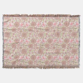 Pink dahlia, flamingo pattern Throw blanket
