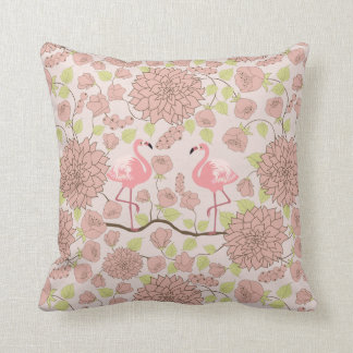 Pink dahlia, flamingo pattern Throw pillow