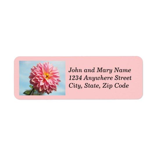 Pink Dahlia Floral Return Address Labels