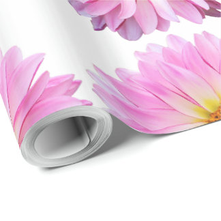 Pink Dahlia Floral Wrapping Paper with Flowers