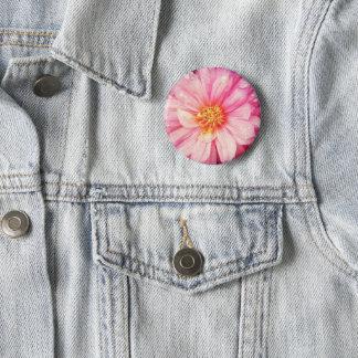 Pink Dahlia Flower Badge 2 Inch Round Button