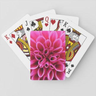 Pink Dahlia Flower Macro Photo Playing Cards