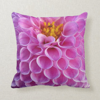 Pink Dahlia Flower Photo Throw Pillow