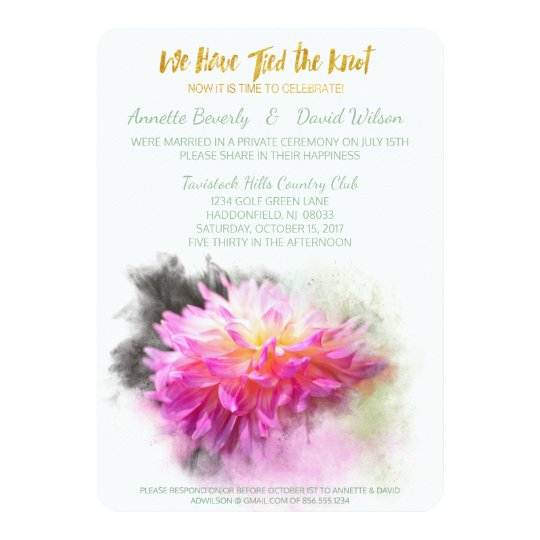Pink Dahlia Flower Post Wedding Party Invitation