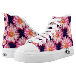 Pink Dahlia Flower Zipz High Top Shoes