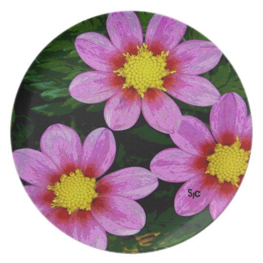 Pink Dahlia Melamine Plate