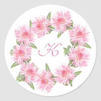 Pink Dahlia monogram sticker