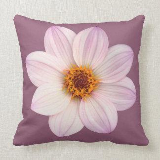 Pink Dahlia on #945E76 Throw Pillow