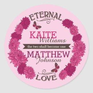 Pink Dahlia Wreath Modern Floral Wedding Label
