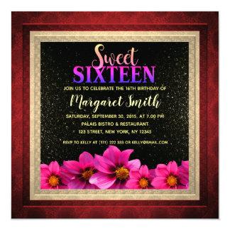 Pink Dahlias Sweet 16 Invite