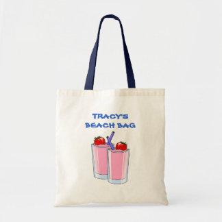 Pink Daiquiris Summer Beach Drinks Custom Name Tote Bag