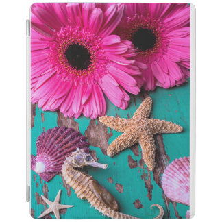 Pink Daises And Seahorse With Starfish iPad Cover