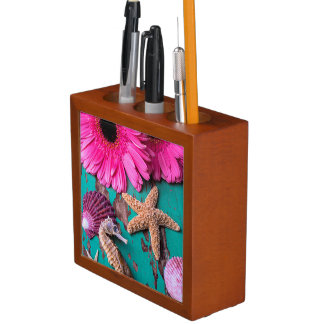 Pink Daises And Seahorse With Starfish Pencil/Pen Holder