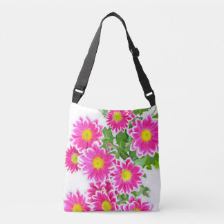 Pink Daisies / Asters Bouquet + your ideas Crossbody Bag