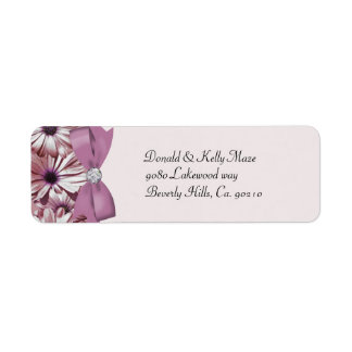 Pink Daisies Bow & Ribbon Wedding Return Address Label