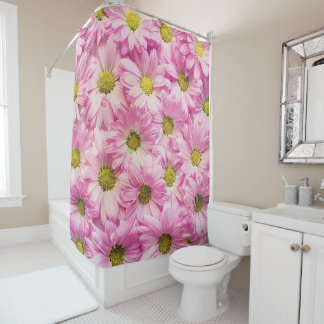 Pink Daisies on Shower Curtain